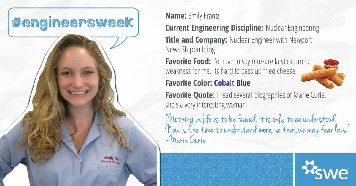Emily Frantz, Society of Women Engineers, Engineers Week