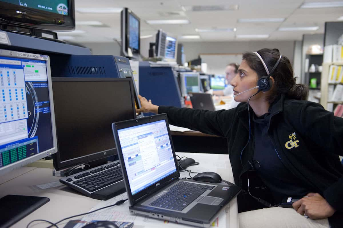 Mamta Patel Nagaraja, Ph.D., creator and program leader of NASA G.I.R.L.S., at Mission Control during the STS-131 flight to the International Space Station. Photo courtesy of nasa.gov.