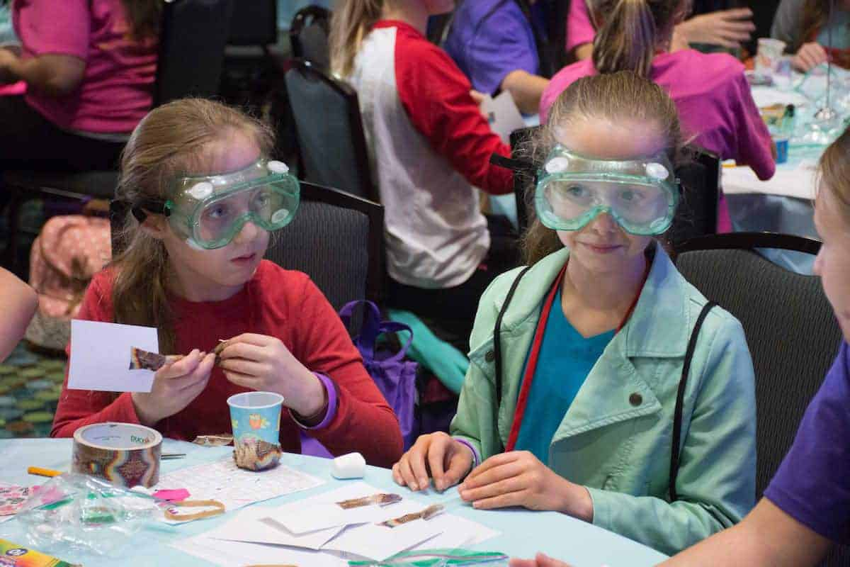 """Hands-on, project-based learning — such as takes place at """"Invent It. Build It."""" at the WE conferences — encourages a growth mindset that keeps girls engaged."""