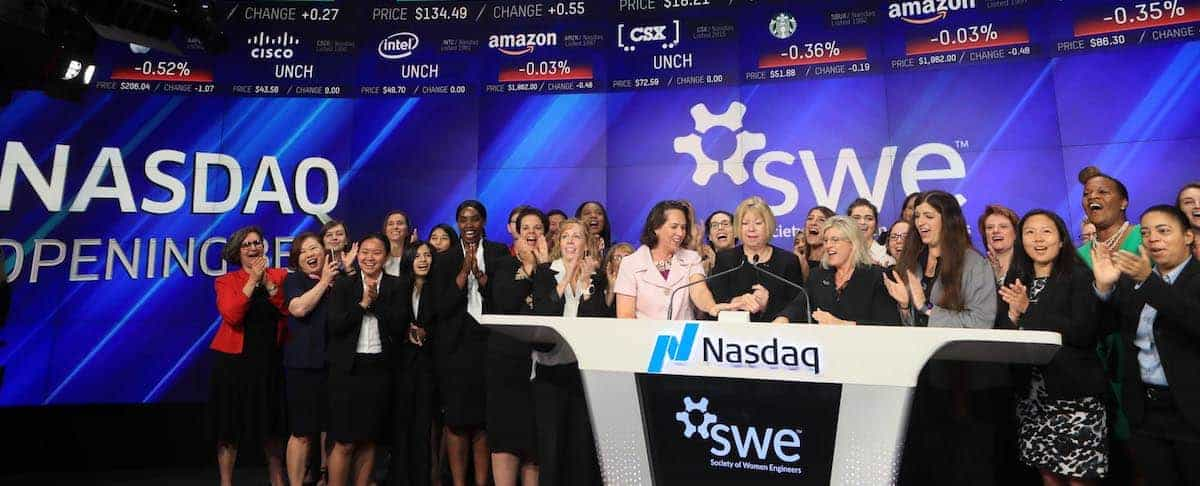 Ringing the Bell for Parity: SWE Members Reflect on the Nasdaq Opening Bell Ringing Ceremony