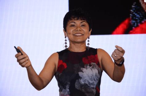 Sabina Nawaz speaking at WE Local India in April 2019