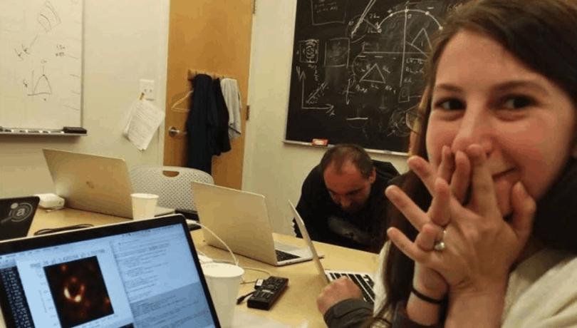 Katie Bouman reacting to black hole image