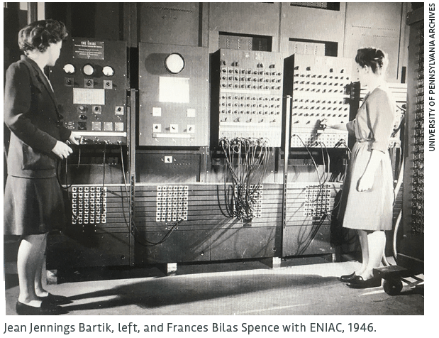 Jean Jennings Bartik, left, and Frances Bilas Spence with ENIAC, 1946