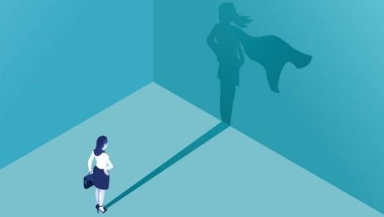 Businesswoman superhero shadow graphic