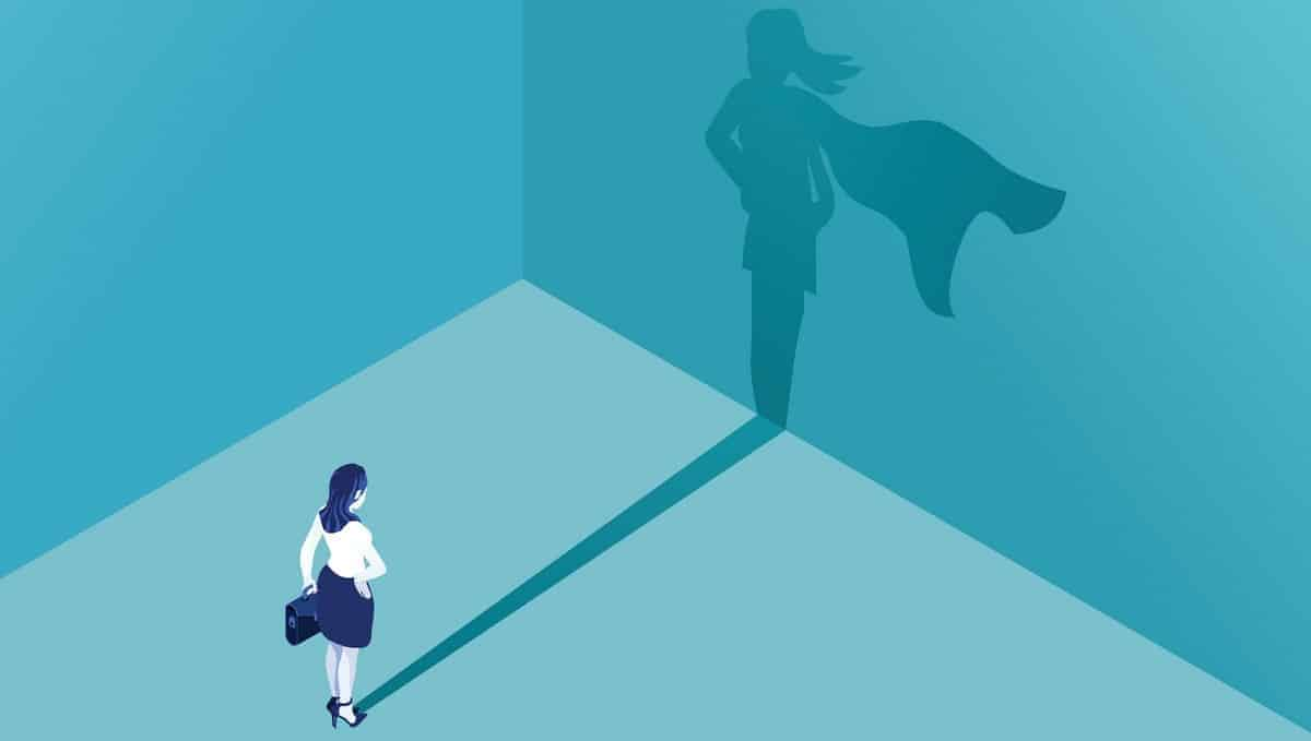 Businesswoman superhero shadow graphic