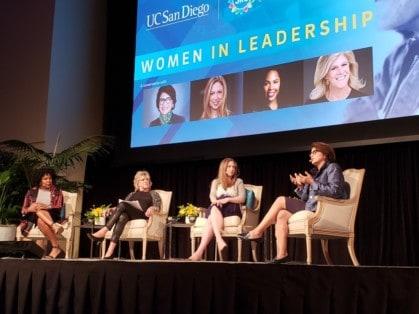 Women in Leadership UCSD panelists Jedidah Isler, moderator Lynn Sherr, Chelsea Clinton and Sylvia Acevedo