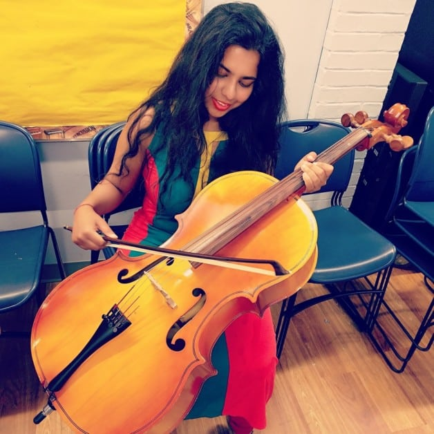 Aerospace engineer student gulnaaz afzal playing the cello