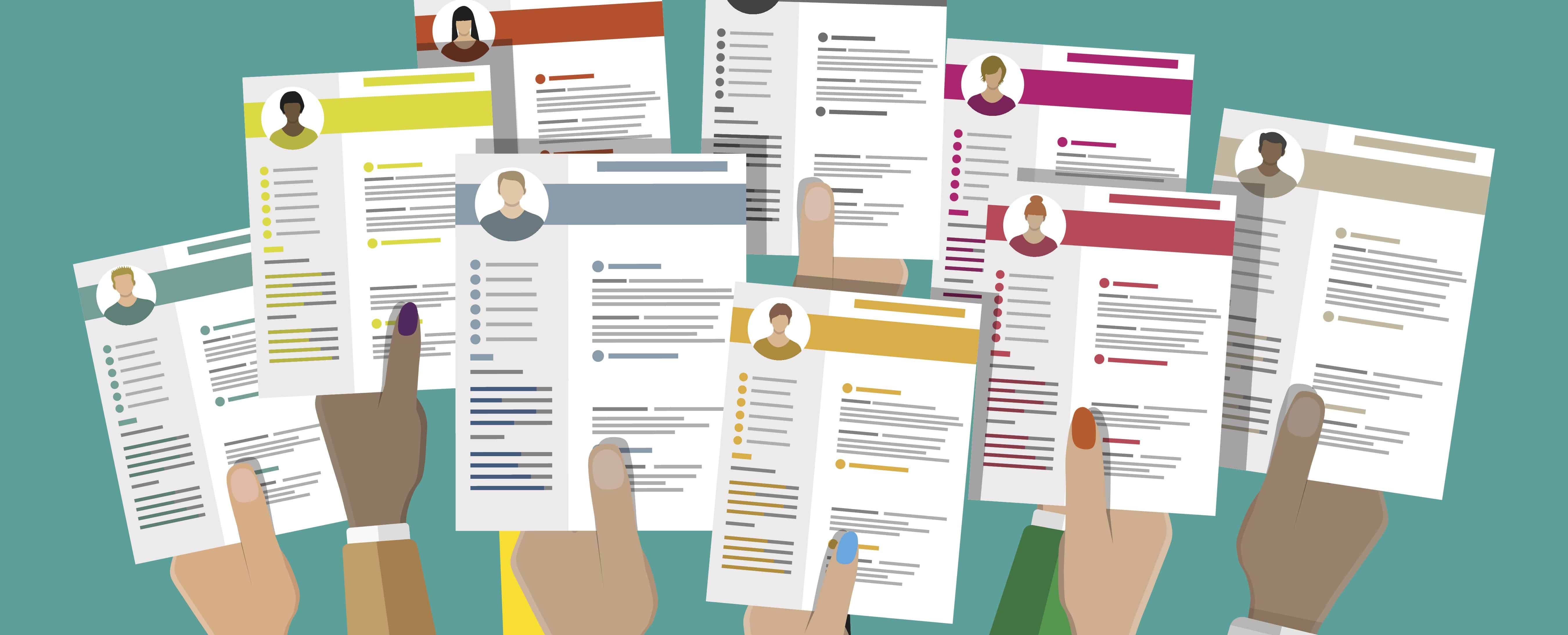 vector illustration of hands holding resumes