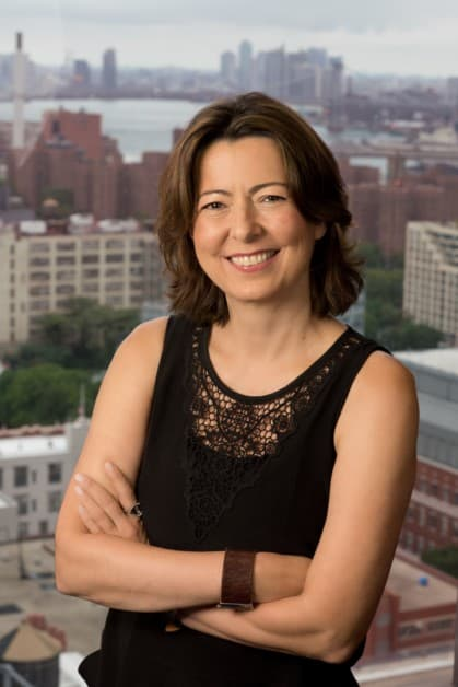 professional headshot of NYU Tandon's Dean of Engineering, Jelena Kovačević, with cityscape in background