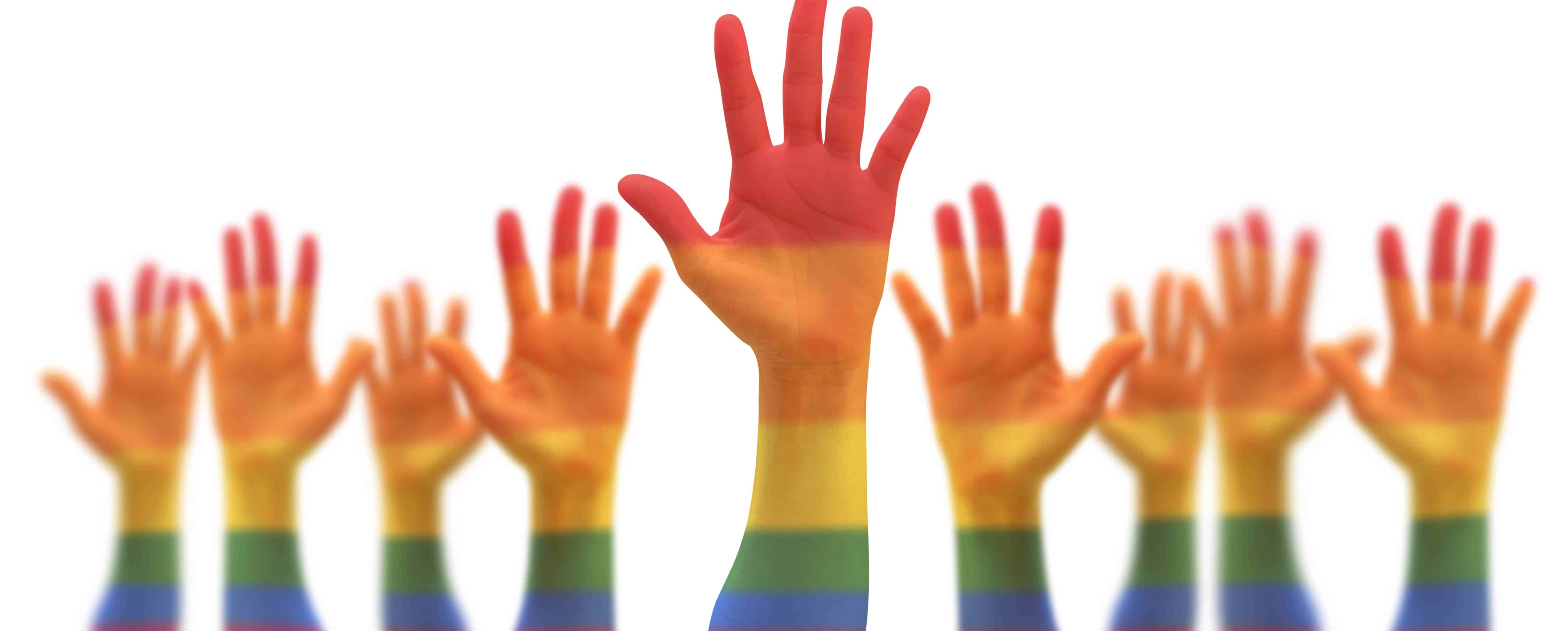 LGBTQ+ image - many raised hands painted rainbow colors