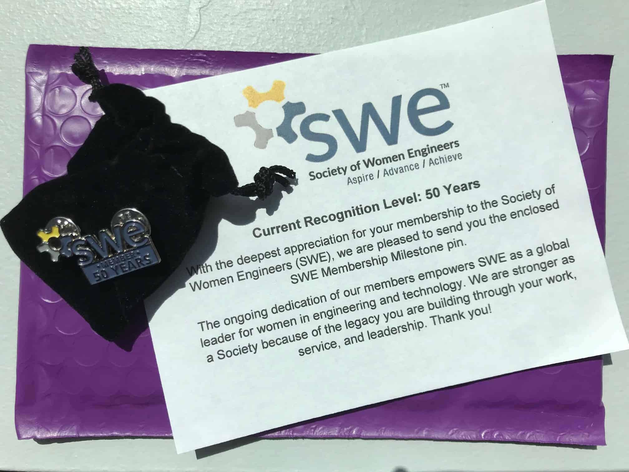 SWE 50-year member pin