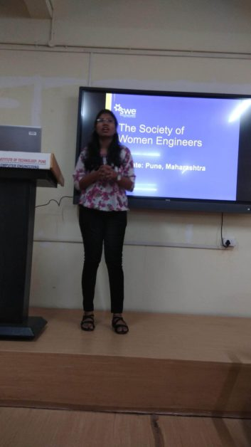 Sayali Igave speaking at event at SWE MIT WPU affiliate