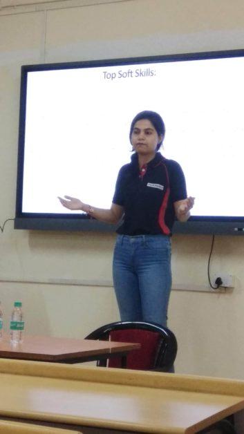 Priyanka Kamrakar speaking at event at SWE MIT WPU affiliate