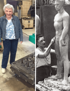 Jeanne Brodie as an engineer and sculptor