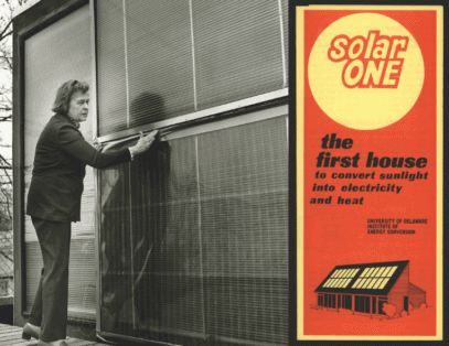 Telkes at Solar One house and Solar One brochure