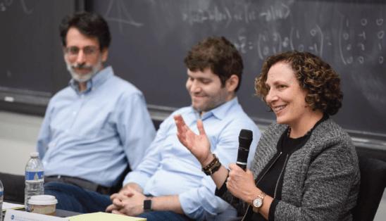 Marian K. Schneider speaking at Princeton University