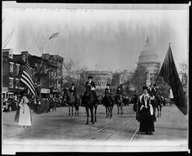 Women suffragists marching on Pennsylvania Avenue