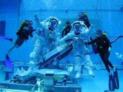 Virginia Moore in NASA's neutral buoyancy lab
