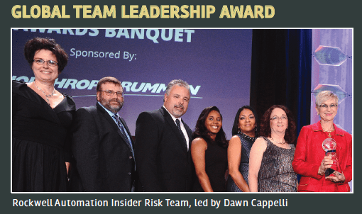 Rockwell Automation Insider Risk Team with Global Team Leadership Award