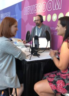 Sierra Reid and Jessica Rannow record a podcast at SWE's WE19 conference