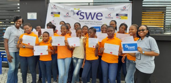 Participants at the SWE and Milex outreach event in Nigeria were presented with certificates of attendance