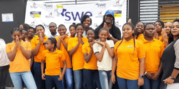 Group photo from SWE and Milex outreach event in Nigeria
