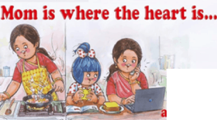cartoon showing a woman cooking and caring for children while working from home