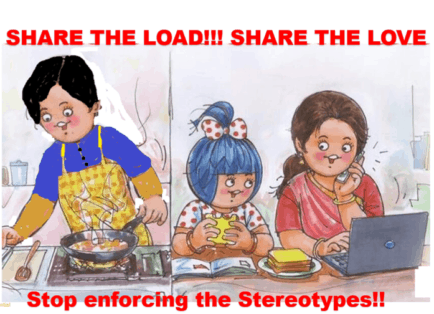 cartoon showing gender equality in the household