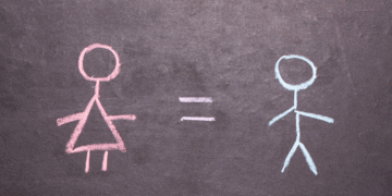 image displaying gender equality with stick figure art