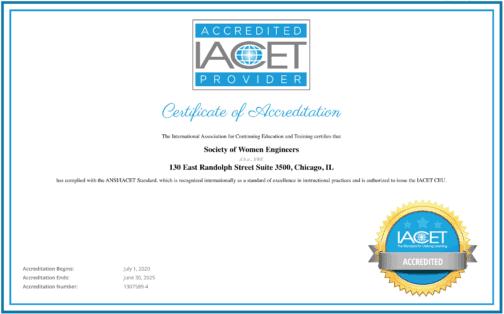 SWE IACET accreditation certificate