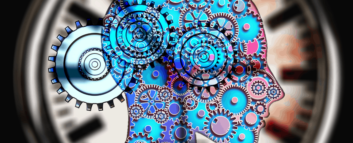 illustrative graphic of gears in head to illustrate mental health