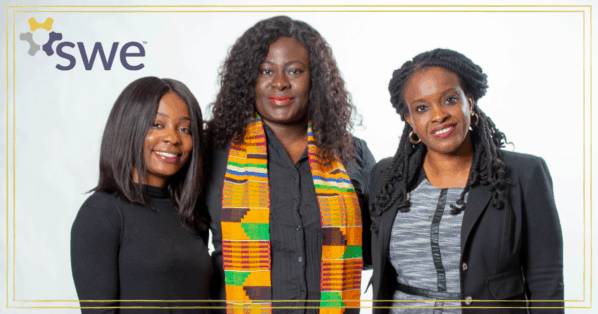 3 women of color in SWE's African American affinity group