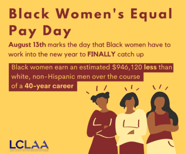 Black Women's Equal Pay Day graphic