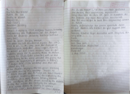 Handwritten letter to school of Pune virtual outreach event