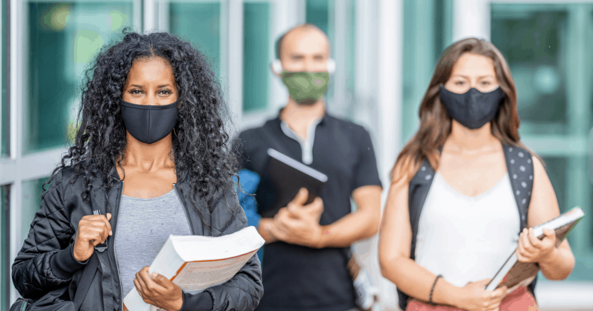 back-to-school in 2020 - college students wearing masks