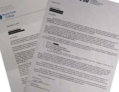 Melody Gonzalez college acceptance letter