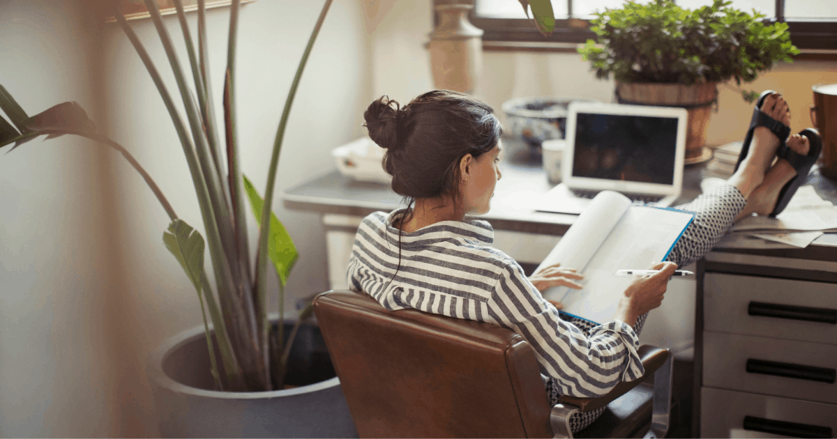 woman working from home, remote work