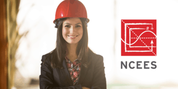 woman engineer with NCEES logo