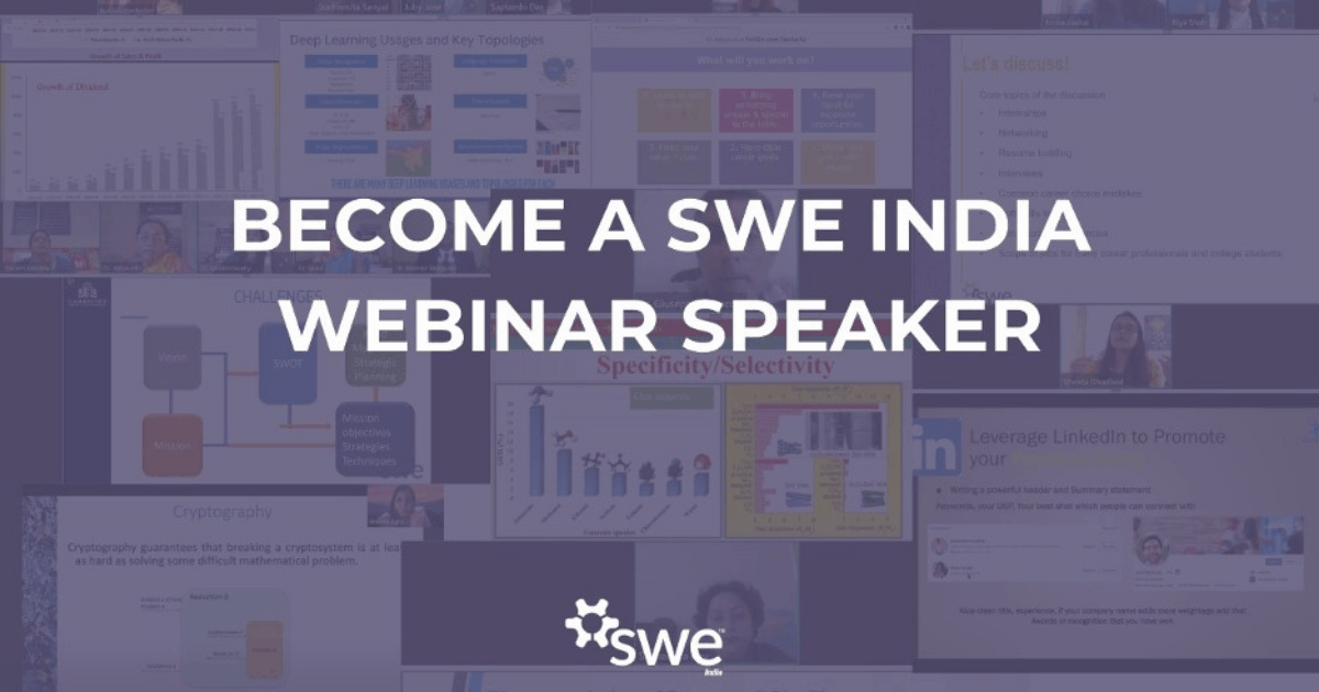 Apply As A Speaker For Our Swe India Webinar Series!